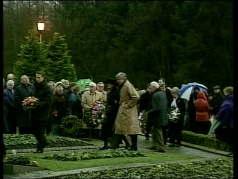 linda scotland lockerbie ext/wet tms prince philip along to memorial service bv duke lays wreath at memorial stone bereaved relatives along with... - memorial event stock videos and b-roll footage