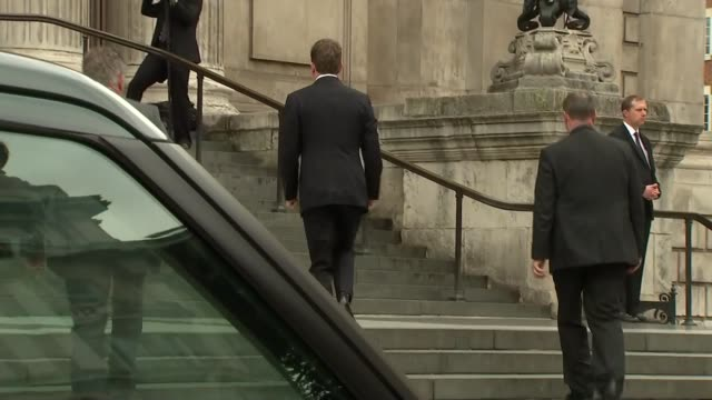 st paul's service departures and arrivals arrivals patrick mcloughlin mp arrival/ tony blair and his wife cherie blair from car and up steps to st... - patrick mcloughlin stock videos and b-roll footage