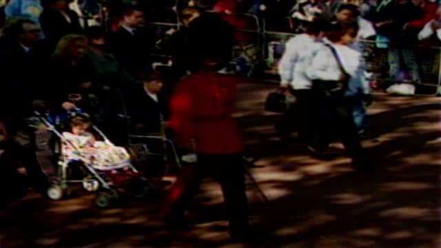 10th anniversary of princess diana's death interview with girl who met princess diana harriet jackson along in pushchair with other mourners... - funeral procession stock videos & royalty-free footage