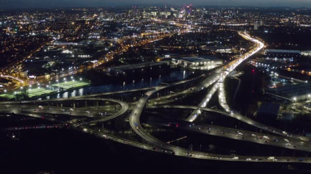 10th february 2020: drone footage of spaghetti junction loved or loathed by the millions of motorists that use it, spaghetti junction's sprawling... - traffic time lapse stock videos & royalty-free footage