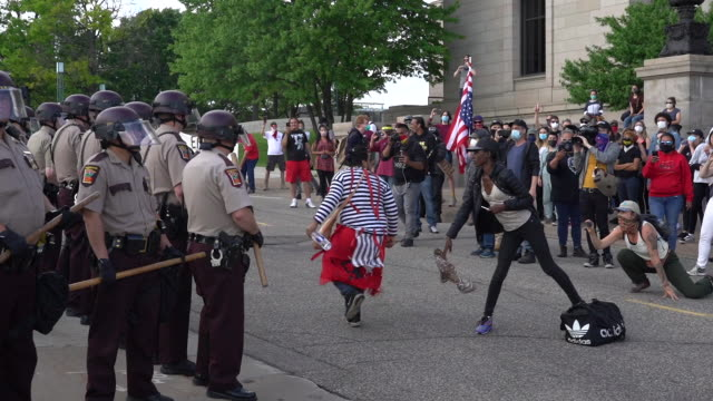 10th june 2020: protesters pulled down the columbus statue with ropes on minnesota state capitol grounds. native american activists dance in front of... - statue stock videos & royalty-free footage