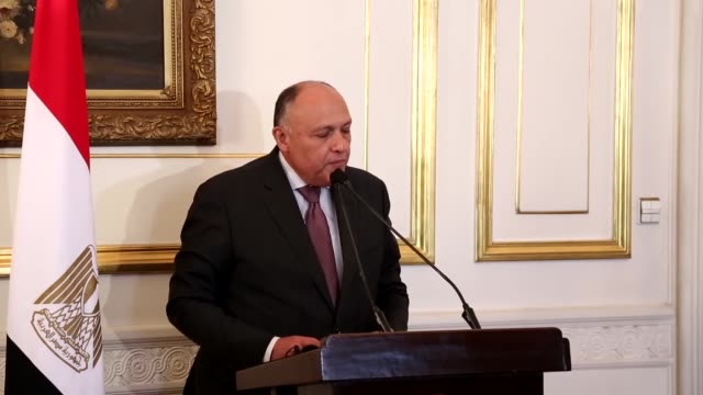 10th meeting of foreign ministers of libya's neighbouring countries held in cairo egypt pn january 20 2017 egyptian foreign minister sameh shoukry... - libya stock videos & royalty-free footage