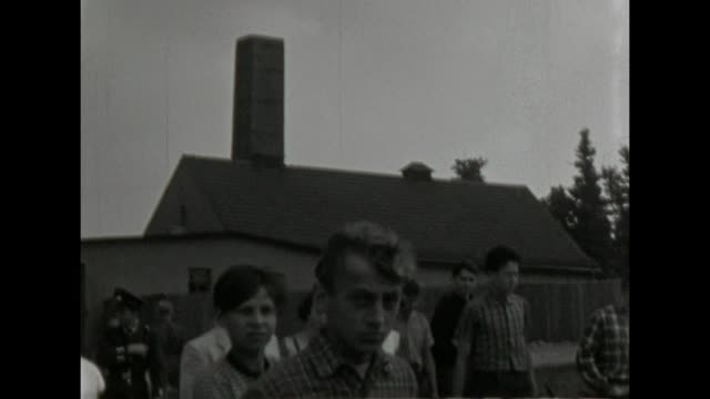 a 10th school class visit buchenwald on an class trip / shot in 1957 - buchenwald concentration camp stock videos & royalty-free footage