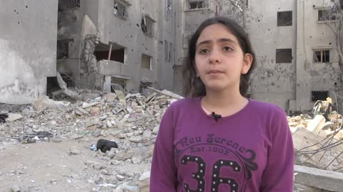 """year-old palestinian girl who barely survived a bombing in the israeli blockade of the gaza strip calls out to the world: """"stop selling weapons to... - パレスチナ文化点の映像素材/bロール"""