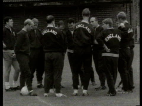 11jul1966 b/w montage england team training alf ramsey bobby charlton jimmy greaves bobby moore / united kingdom - 1966 stock videos & royalty-free footage
