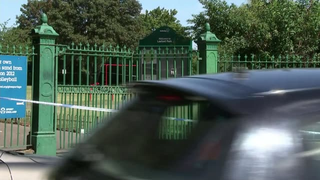 year-old boy shot in the face while playing at park in ilford; england: london: ilford: loxford lane: ext police tape cordons, police cars and police... - ilford stock videos & royalty-free footage
