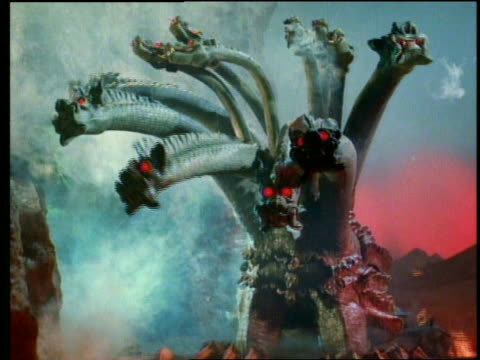 12-headed monster with glowing red eyes