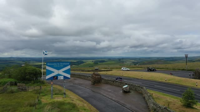 13th july 2020: drone footage giving a general view at the view point on the a68 at carter bar, at the top of redesdale in the cheviot hill on the... - scotland stock videos & royalty-free footage