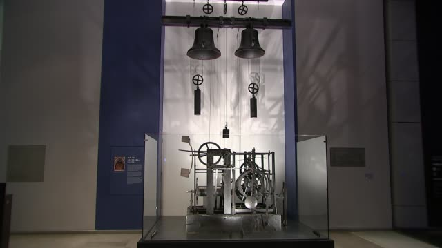 14th century clock mechanism goes on display at science museum england london science museum int various shots of 14th centrury clock mechanism on... - itv london lunchtime news stock-videos und b-roll-filmmaterial