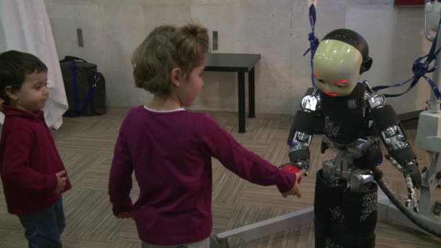 14th world congress on humanoid robots is in full swing under the theme humans and robots face to face - robot human face stock videos & royalty-free footage