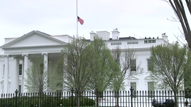 150th Anniversary of assassination of President Abraham Lincoln EXT Flag flying at half mast outside White House