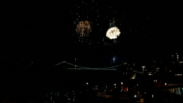 150th anniversary of clifton suspension bridge fireworks display england bristol various shots of fireworks display over bristol suspension bridge... - clifton suspension bridge stock videos and b-roll footage