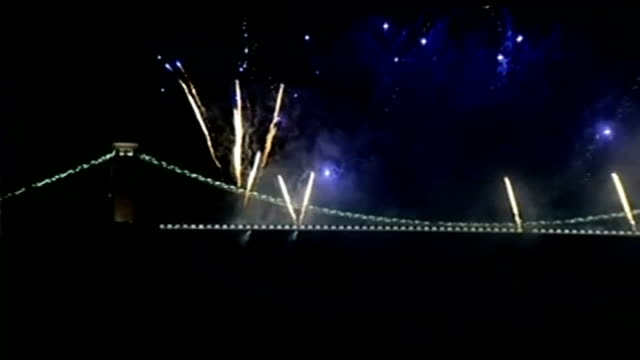 150th anniversary of clifton suspension bridge gvs fireworks exploding over bridge - clifton suspension bridge stock videos and b-roll footage