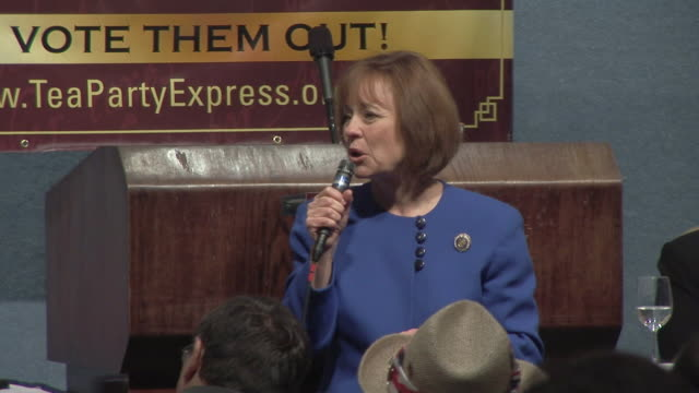 apr-2010 republican nominee for nevada's senate seat, sharron angle, at tea party express event in dc at national press club / washington, dc, usa /... - 2010 個影片檔及 b 捲影像