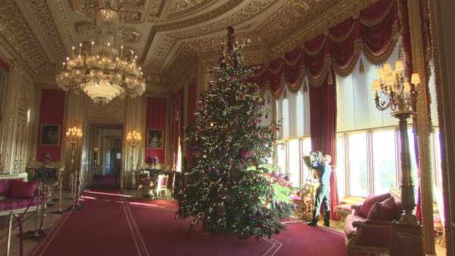 a 15ft christmas tree in the crimson drawing room at windsor castle on november 23 2017 in windsor england - königshaus stock-videos und b-roll-filmmaterial