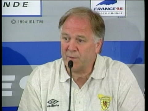 jun-1998 montage scottish fans react to result of scotland v brazil match; craig brown reaction / paris, france / audio - large scale screen stock videos & royalty-free footage