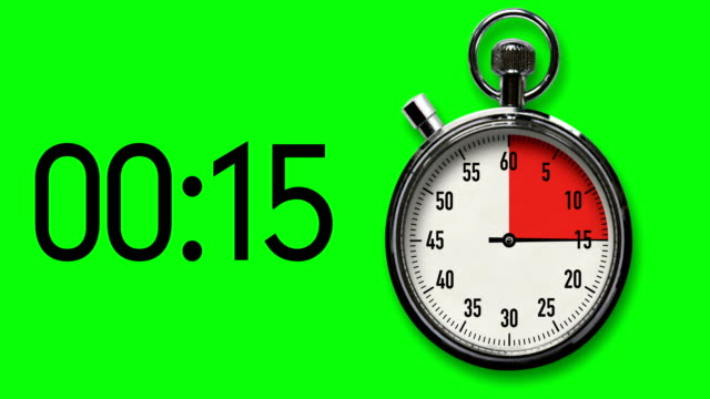 15-second stopwatch countdown on chroma key background with digital readout - second hand stock videos & royalty-free footage