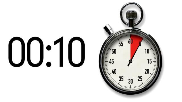 stockvideo's en b-roll-footage met 15 seconden stopwatch op wit met digitale aflezen - secondewijzer
