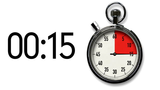 15-second stopwatch countdown on white with digital readout - stop watch stock videos & royalty-free footage