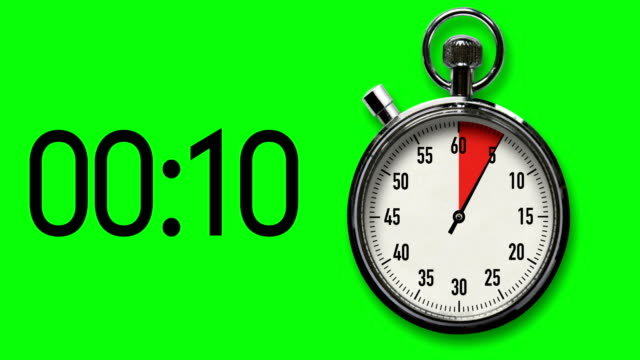 15-second stopwatch countdown with chroma key background - second hand stock videos & royalty-free footage
