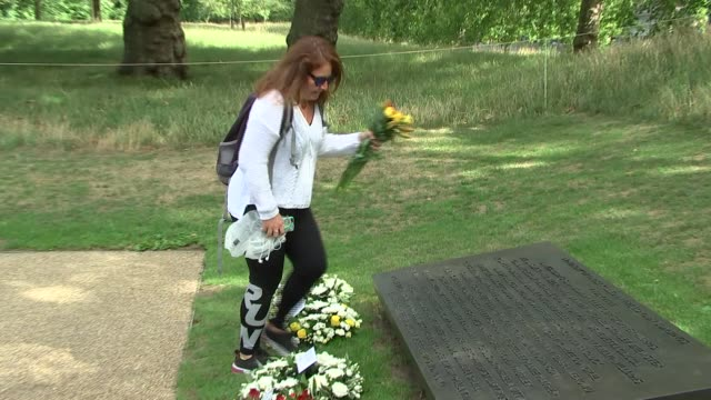 service at 7 july memorial england london hyde park ext cressida dick and ian dyson laying wreaths at 7 july memorial / group away and chatting / gvs... - cressida dick stock videos & royalty-free footage