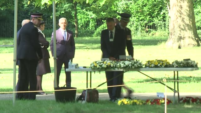 service at 7 july memorial england london hyde park ext cressida dick arriving / sadiq khan and arriving and chatting with mike brown paul crowther... - cressida dick stock videos & royalty-free footage