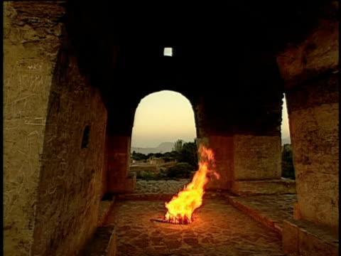 15th jun 2000 ws ancient zoroastrian temple with fire burning inside / near ardakan, yazd, iran - yazd province stock videos & royalty-free footage