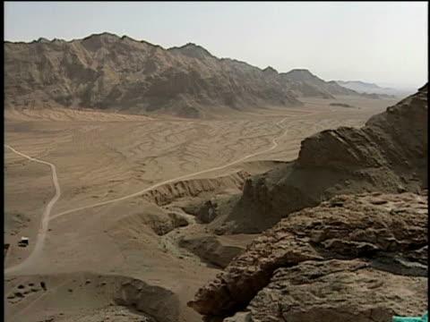 15th jun 2000 ws ha pan road leading to zoroastrian temple of pir-e sabz located in high mountains / near ardakan, yazd, iran - yazd province stock videos & royalty-free footage