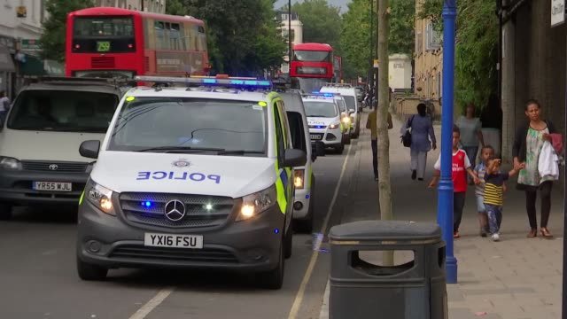 15yearold arrested after teenager stabbed at Calendonian Road and Barnsbury ENGLAND London Caledonian Road EXT Police van parked with sirens flashing...
