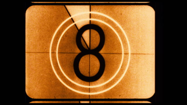 "16mm academy smpte universal count down leader with ""picture start"" and great gate weave. - countdown stock videos & royalty-free footage"