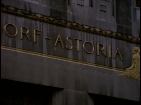 16mm broll shots of The Waldorf Astoria exterior in New York City