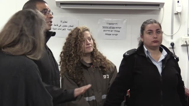 16yearold Palestinian Ahed Tamimi her mother Nariman and her cousin Nour appear at a military court at the Israelirun Ofer prison in the occupied...