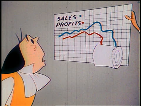 "1948 ANIMATED MS 1700s businessman watching ""sales + profits"" chart drop"