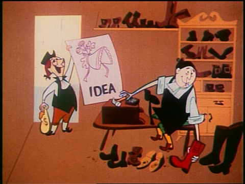 "1948 animated 1700s shoemaker giving coins to man for bonnet ""idea"" on poster - poster stock videos & royalty-free footage"