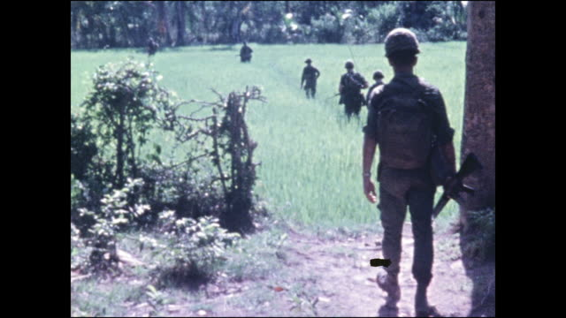 173rd airborne soldiers begin in right of frame and file into rice paddies - indocina video stock e b–roll