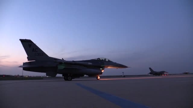 177th fighter wing conduct nighttime flying operations - military aeroplane stock videos and b-roll footage