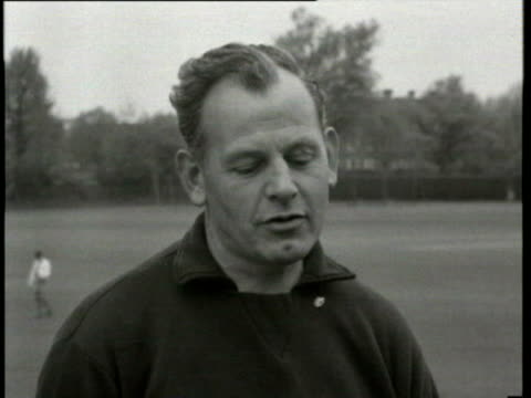 17may1962 b/w ms england leave for chile world cup walter winterbottom england manager interview / united kingdom / audio - only mature men stock videos & royalty-free footage