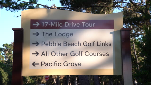 17-mile drive sign - carmel california stock videos & royalty-free footage