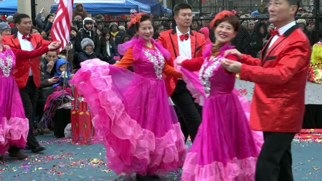 17th annual chinese new year firecracker ceremony / january 28 marks the first day of the chinese new year and the year of the rooster / chinatown... - ballroom dancing stock videos & royalty-free footage