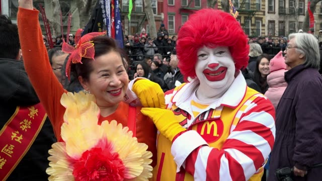 17th annual chinese new year firecracker ceremony / this day marked the first day of the chinese new year and the year of the rooster / chinatown... - mcdonald's stock videos and b-roll footage