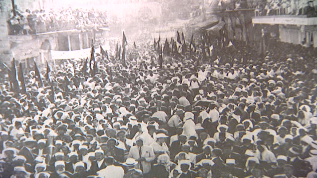 17th august 1952 photo of a demonstration by members of the druze progressive socialist party - 1952 stock videos & royalty-free footage