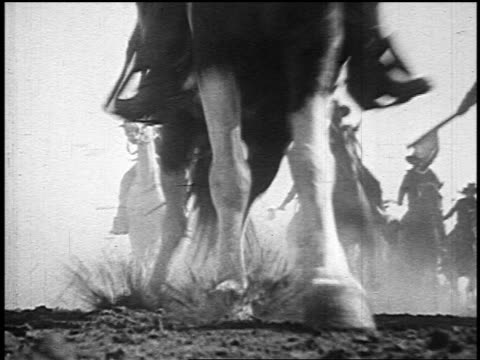 b/w 1800s low angle cavalry riding running horses toward + over camera - cavalry stock videos and b-roll footage