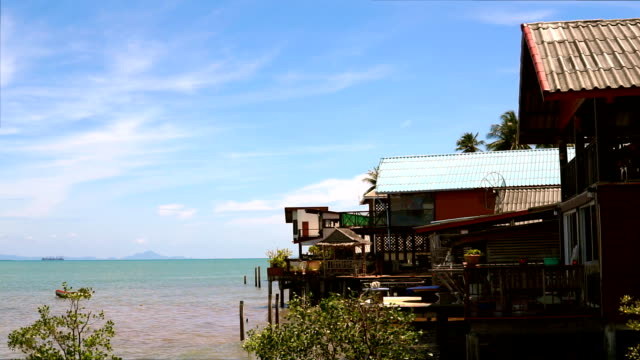 180-degree view of over water stilt houses, ko lanta, thailand - ko lanta stock videos & royalty-free footage