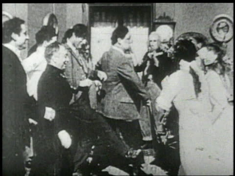 1890s people square dancing in living room - neunzehntes jahrhundert stock-videos und b-roll-filmmaterial