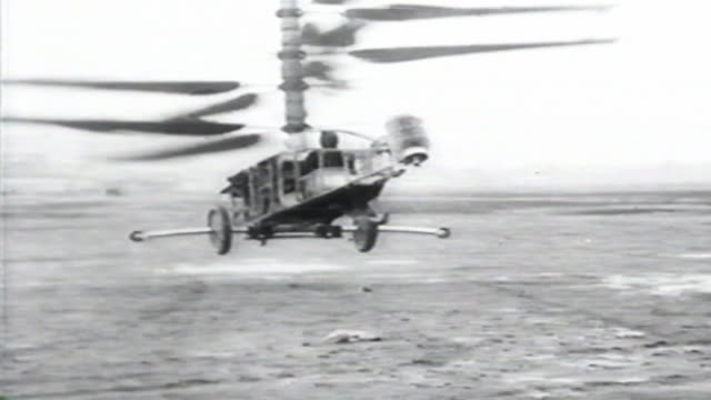 1900s b/w montage man tries to fly personal helicopter with multiple blades / united states - air vehicle stock videos & royalty-free footage