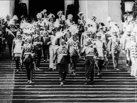 b/w 1900s kaiser wilhelm ii king ludwig descending steps with uniformed men / europe / documentary - king royal person stock videos & royalty-free footage