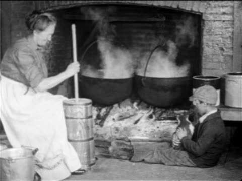 b/w 1900s woman sitting by hearth churning butter as boy pets cat / documentary - stay at home mother stock videos & royalty-free footage