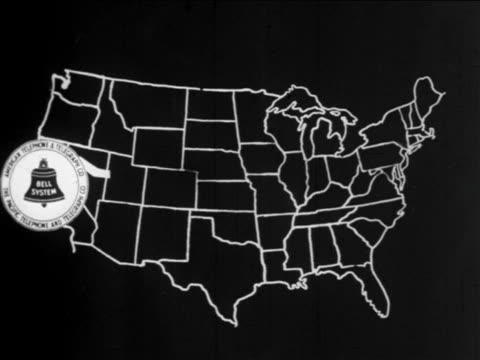 b/w 1910s animation line connects 2 bell system logos from california to new york on us map / docu. - bell stock videos and b-roll footage