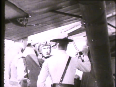 billy mitchell vs brigadier general william lendrum mitchell sitting in cockpit of biplane speaking w/ officers taxiing airplane on field aircraft... - 1910 stock-videos und b-roll-filmmaterial