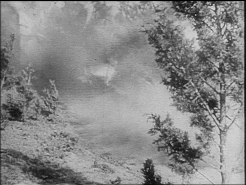 B/W 1910s biplane crashing into ground / World War I / newsreel